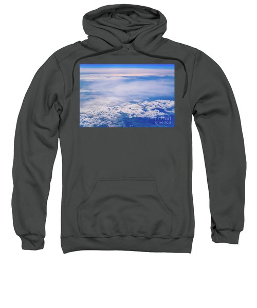 Intense Blue Sky With White Clouds And Plane Crossing It, Seen From Above In Another Plane. Sweatshirt