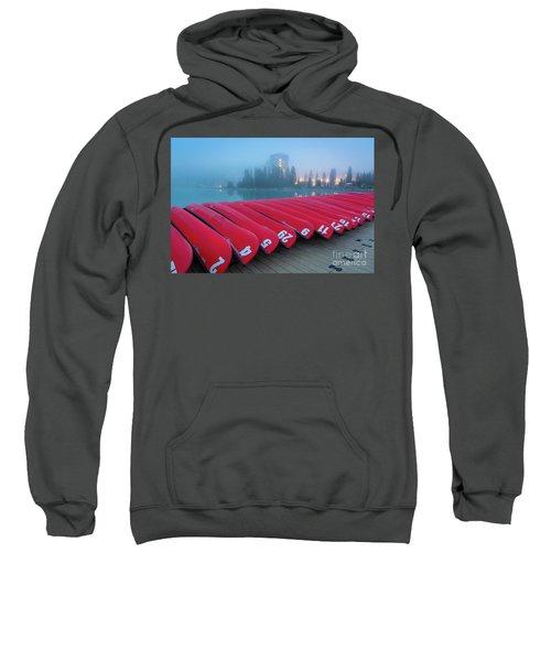 Lake Louise Red Canoes Sweatshirt