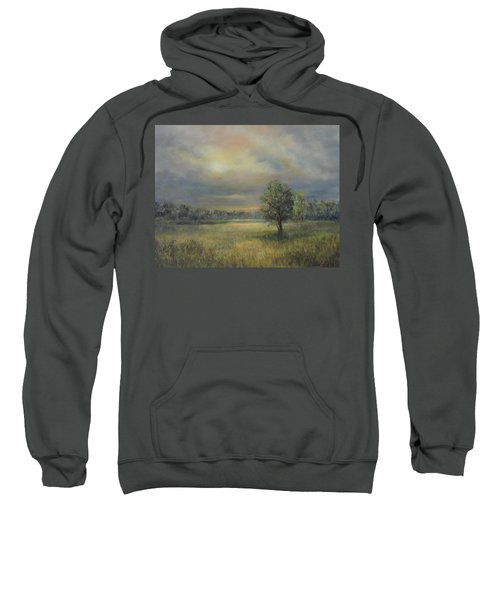Landscape Of A Meadow With Sun And Trees Sweatshirt