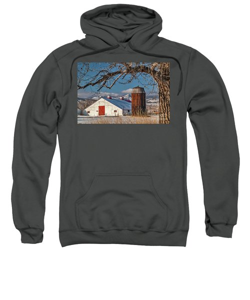 Large White Barn With Silo Sweatshirt