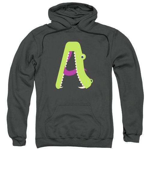 Letter A - Animal Alphabet - Alligator Monogram Sweatshirt