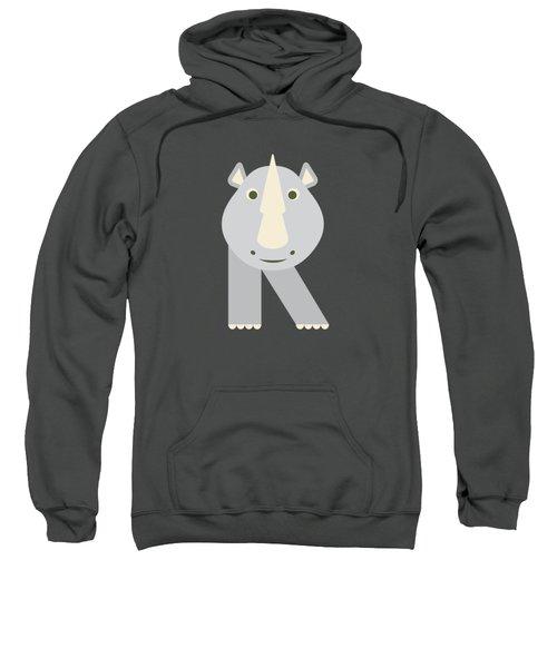 Letter R - Animal Alphabet - Rhino Monogram Sweatshirt