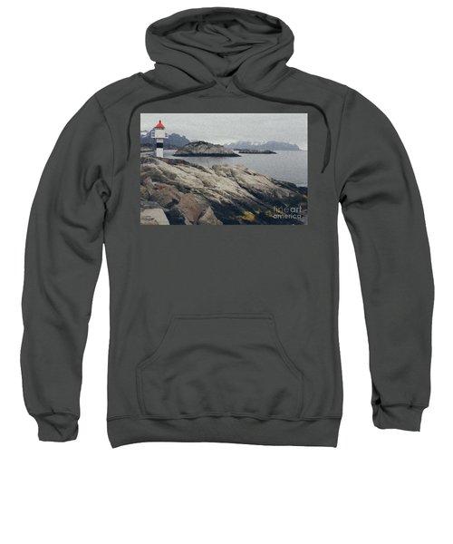 Lighthouse On Rocks Near The Atlantic Coast, Digital Art Oil Pai Sweatshirt