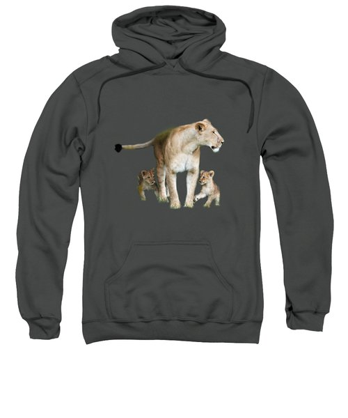 Lioness And Her Cubs Playing  Sweatshirt