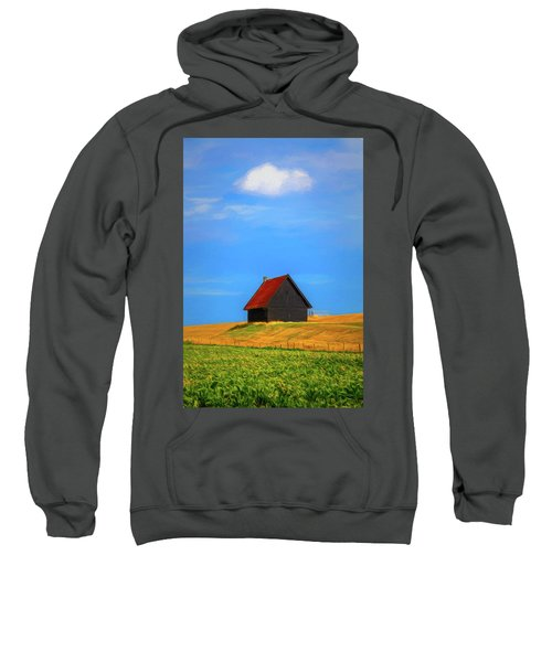 Little Barn At The Top Of The Hill Painting Sweatshirt