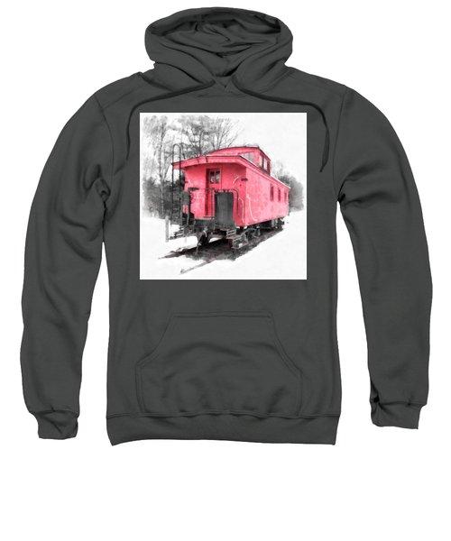 Little Red Caboose Watercolor Sweatshirt