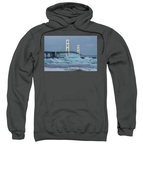 Mackinac Bridge In Ice 2161809 Sweatshirt