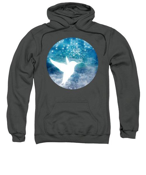 Magical, Whimsical Spirit Hummingbird Drinking Stars Sweatshirt