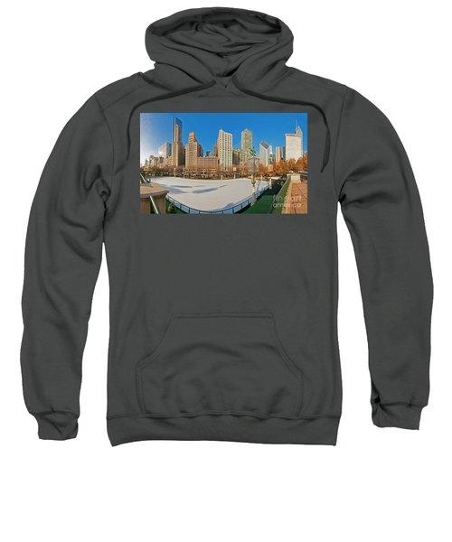 Mccormick Tribune Plaza Ice Rink And Skyline   Sweatshirt