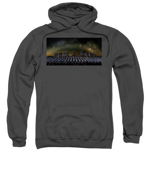Milky Way Arch Over Chinese Temple Roof Sweatshirt