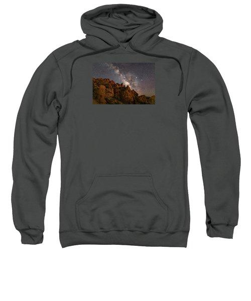 Milky Way Over Rocky Terrain Sweatshirt