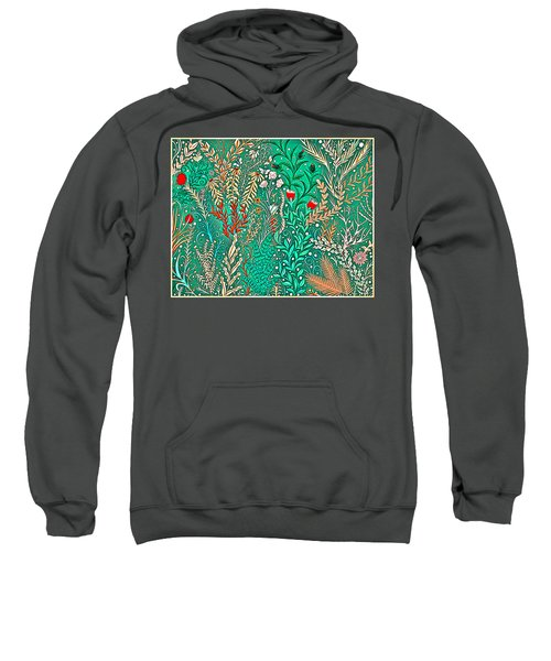 Millefleurs Home Decor Design In Brilliant Green And Light Oranges With Leaves And Flowers Sweatshirt