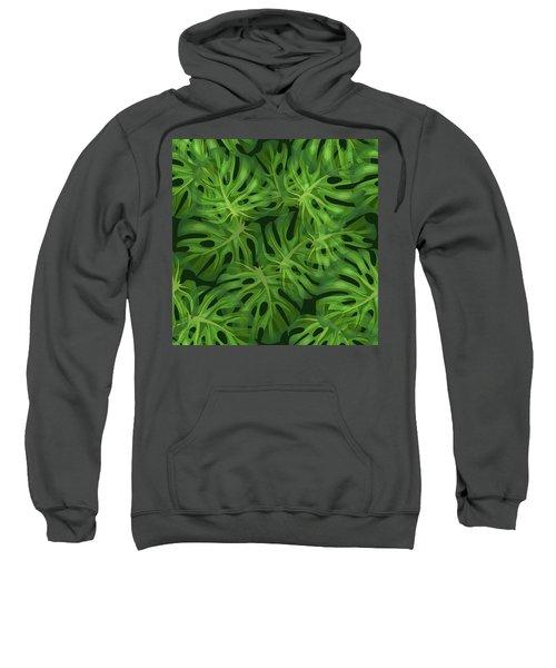 Monstera Leaf Pattern 1 - Tropical Leaf Pattern - Dark Green - Tropical, Botanical Pattern Design Sweatshirt
