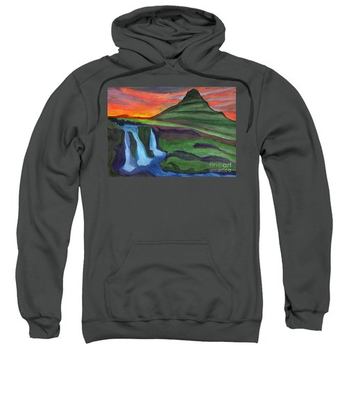 Mountain And Waterfall In The Rays Of The Setting Sun Sweatshirt