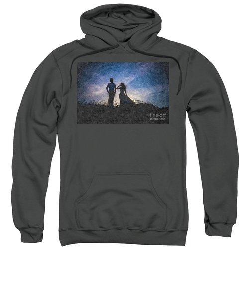 Newlywed Couple After Their Wedding At Sunset, Digital Art Oil P Sweatshirt