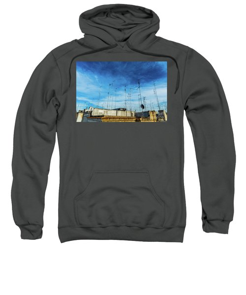 Old Buildings In The City Of Bari With Roofs Full Of Old Televis Sweatshirt