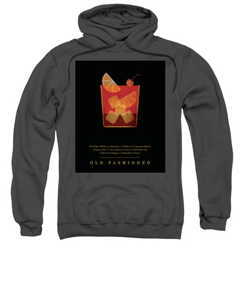Old Fashioned - Cocktail - Classic Cocktails Series - Black And Gold - Modern, Minimal Decor Sweatshirt