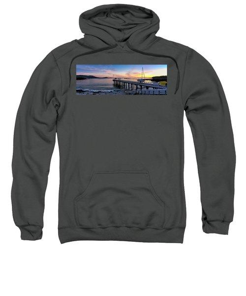 Pier And Sailboat At Sunset Sweatshirt