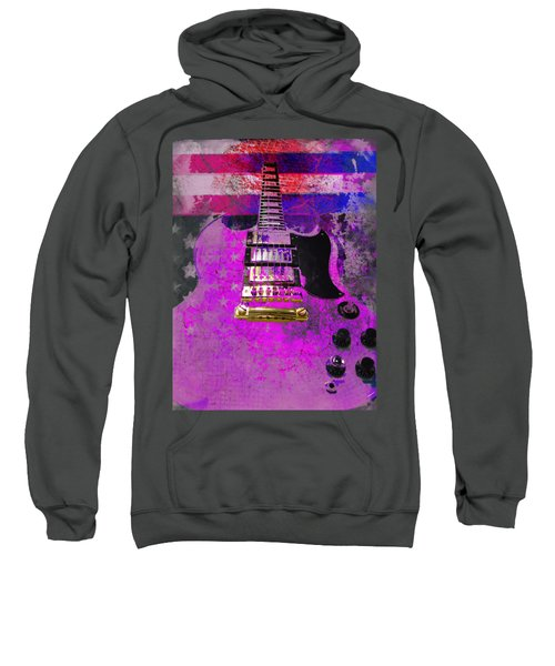 Pink Guitar Against American Flag Sweatshirt