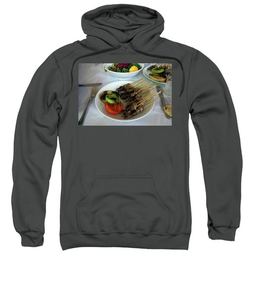 Plate Of Kebabs And Salad For Lunch Sweatshirt