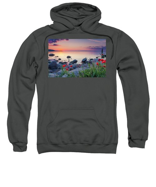 Sweatshirt featuring the photograph Poppies By The Sea by Evgeni Dinev