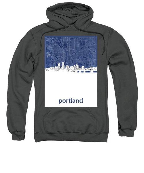 Portland Skyline Map Blue Sweatshirt
