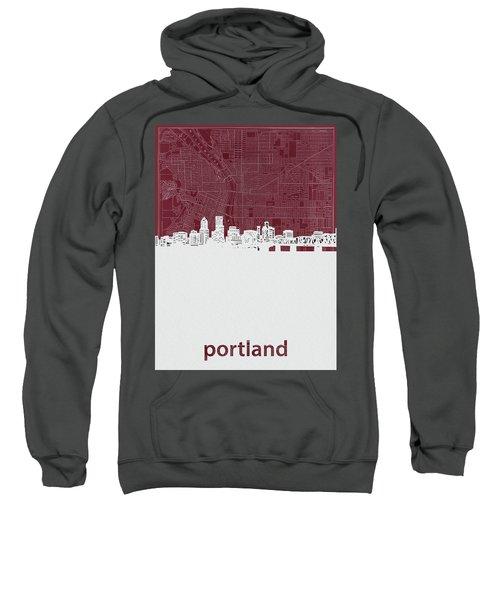 Portland Skyline Map Red Sweatshirt