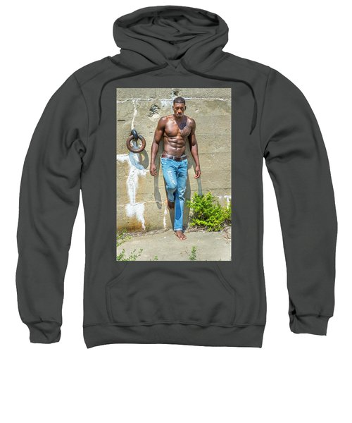 Portrait Of  Young Black Fitness Guy Sweatshirt