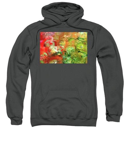 Red And Green Abstract Art - Heart's Desire - Sharon Cummings Sweatshirt