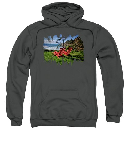 Red Chairs At Agate Beach Sweatshirt