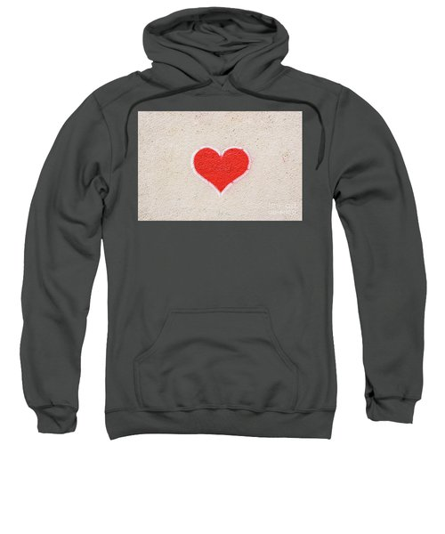 Red Heart Painted On A Wall, Message Of Love. Sweatshirt