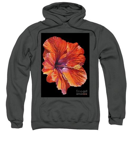 Red Hibiscus On Black Sweatshirt
