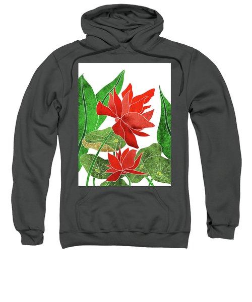 Red Lotus Flower - Botanical, Floral, Tropical Art - Modern, Minimal Decor - Red, Green Sweatshirt