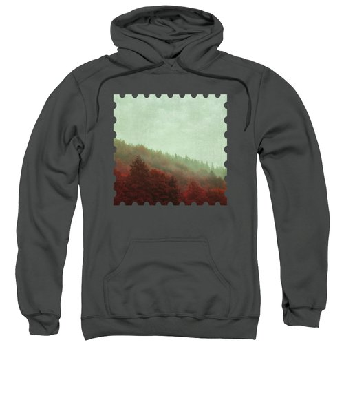Retro Red Forest In Fog Sweatshirt