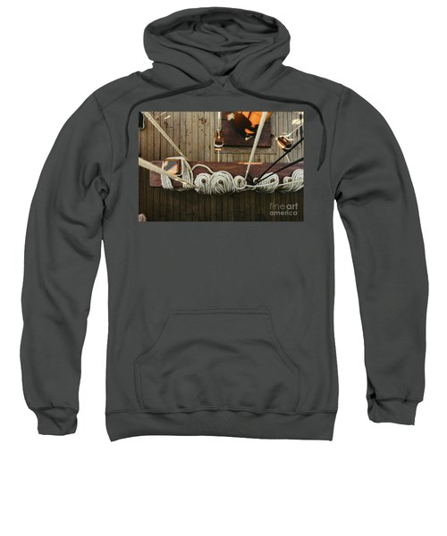 Ropes To Hold The Sails Of An Old Sailboat Rolled. Sweatshirt