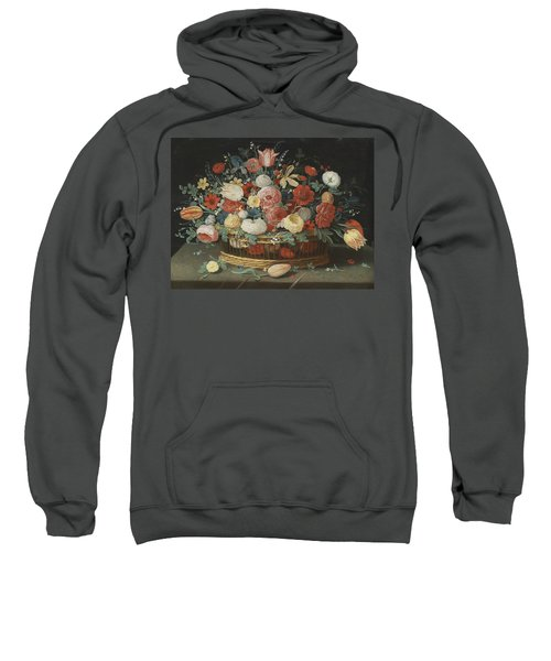 Roses, Tulips, Irises And Other Flowers In A Basket, On A Draped Table Strewn With Flowers And Folia Sweatshirt