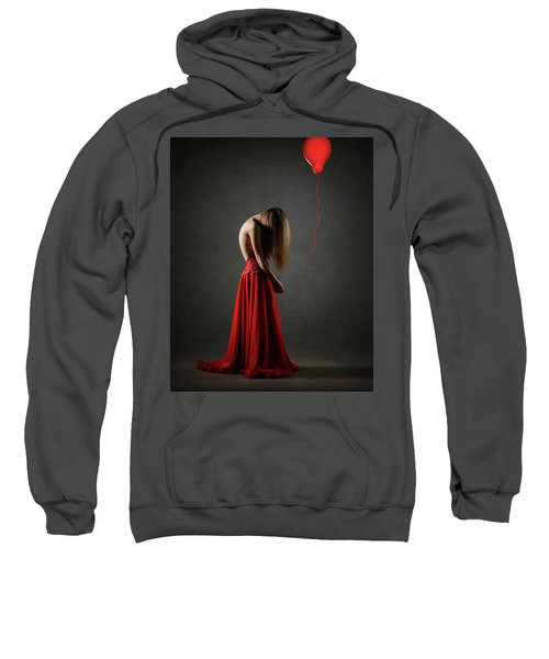 Sad Woman In Red Sweatshirt