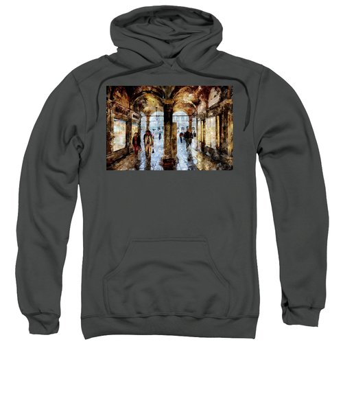 Shopping Area Of Saint Mark Square In Venice, Italy - Watercolor Effect Sweatshirt