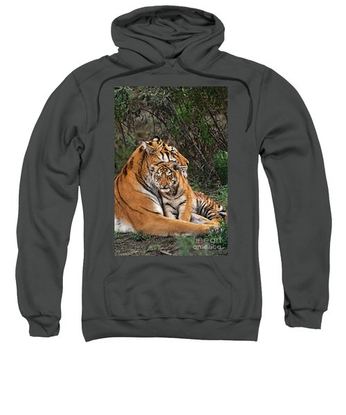Siberian Tiger Mother And Cub Endangered Species Wildlife Rescue Sweatshirt