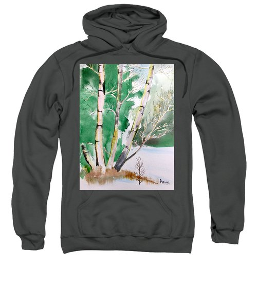 Silver Birch In Snow Sweatshirt