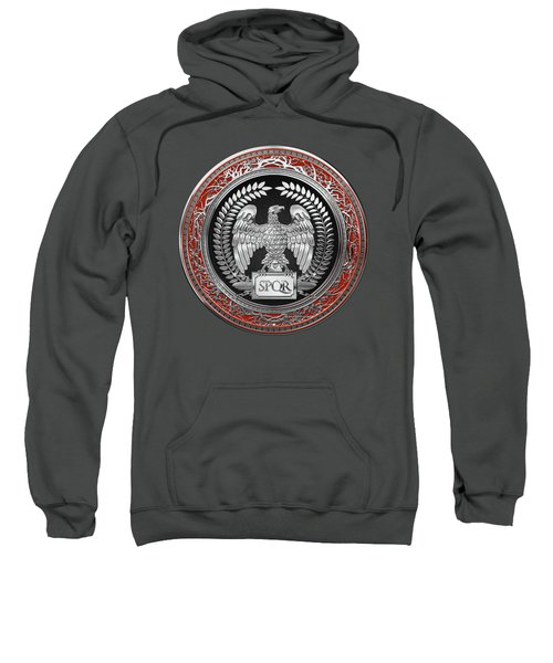 Silver Roman Imperial Eagle Over Red Leather Sweatshirt