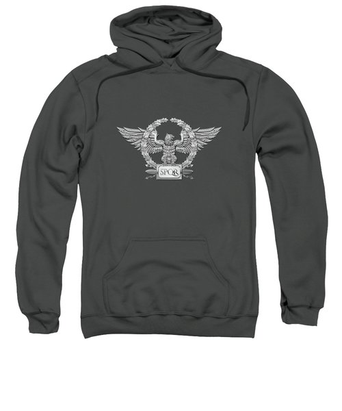 Silver Roman Imperial Eagle -  S P Q R  Special Edition Over Red Velvet Sweatshirt