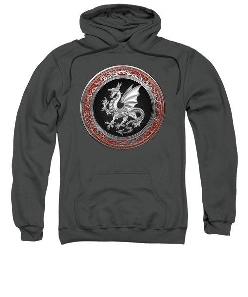 Silver Winged Norse Dragon - Icelandic Viking Landvaettir On Black And Silver Medallion Over Red  Sweatshirt