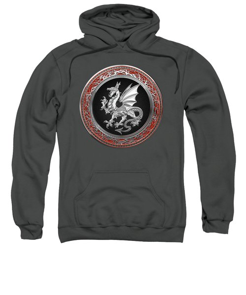 Silver Winged Norse Dragon - Icelandic Viking Landvaettir On Black And Silver Medallion Over Red  Sweatshirt