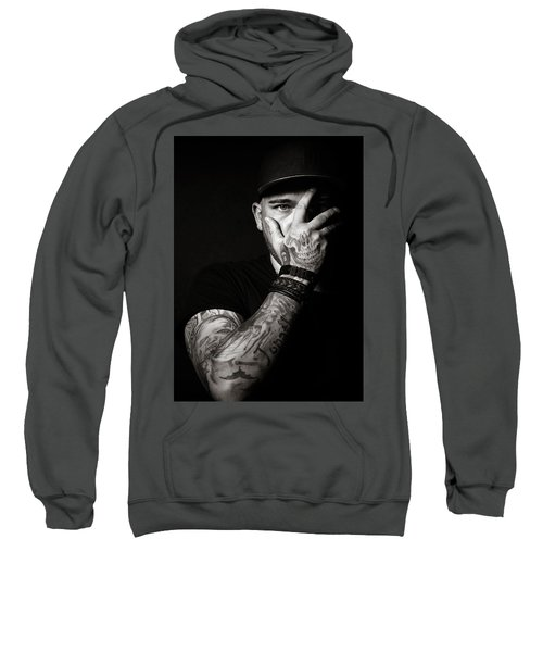 Skull Tattoo On Hand Covering Face Sweatshirt