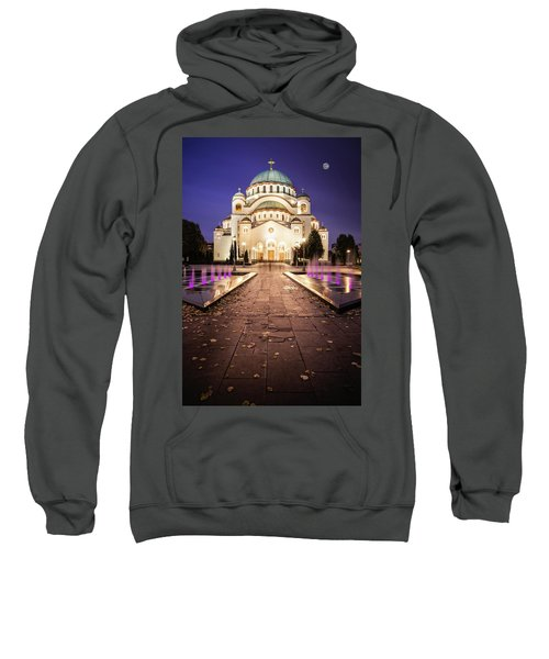 St. Sava Temple In Belgrade Nightscape Sweatshirt