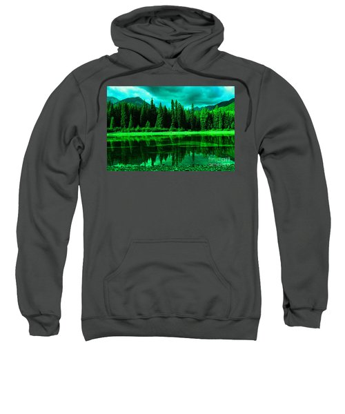Stillwater Reflecting Trees And Mountains Sweatshirt