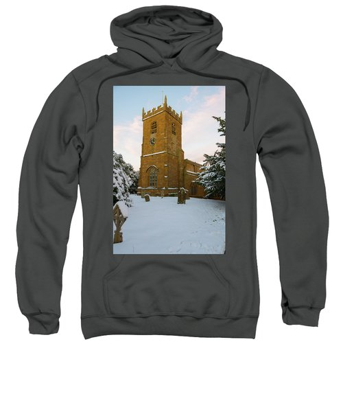 Stone Church In The Snow At Sunset Sweatshirt