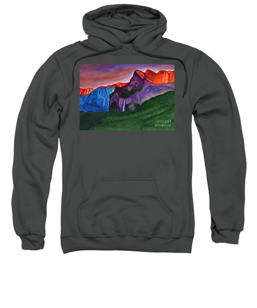Snowy Peaks Of The Mountains With A Waterfall Lit Up By The Orange Dawn Sweatshirt
