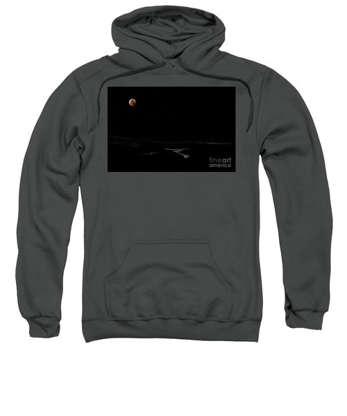 Super Blood Wolf Moon Eclipse Over Lake Casitas At Ventura County, California Sweatshirt